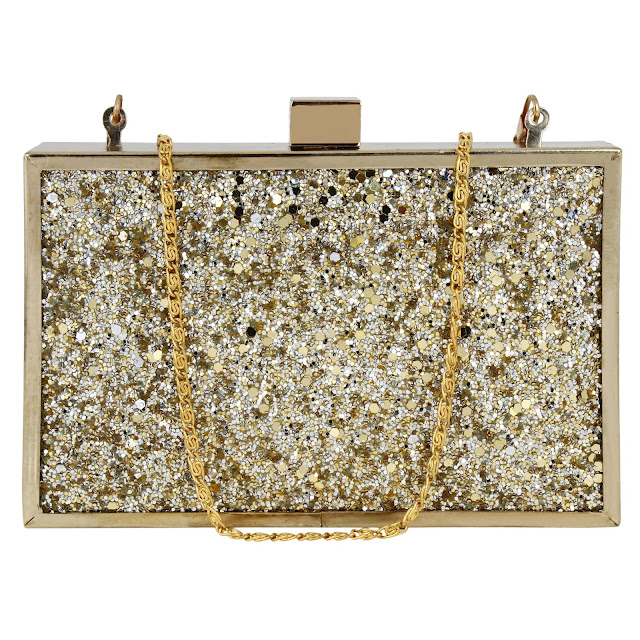 GLITTER GLAM BOXY CLUTCH - GOLD 1800