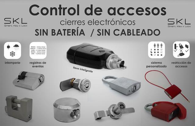 Control de accesos candados, cierres y cerraduras electrónicas sin cables ni baterias