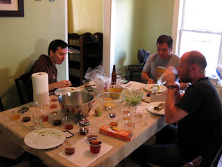 My friends enjoying some post-blending burritos.
