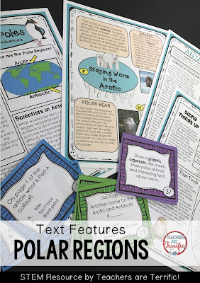 Informational Text Features: The articles are about where the polar regions are, scientists that work in those regions, specific animals that live in the regions,and size comparisons of some of the animals.