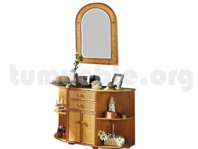 consola puertas y cajones con marco espejo en rattan natural 573+857