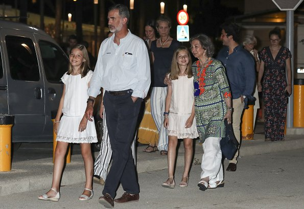 King Felipe, Queen Letizia, Infanta Sofia, Queen Sofia, Infanta Elena at a dinner in Palma. Princess Leonor and Sofia wore Mango Dress from 2015 collection