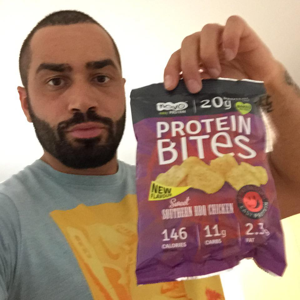Lazar Angelov with Protein Bites