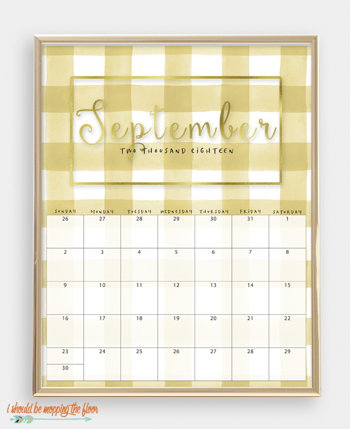 2018 Printable Watercolor Buffalo Check Calendar | 8x10 sizes | Gold Foil Lettering