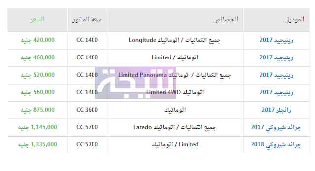 أسعار سيارات جيب 2018 في مصر