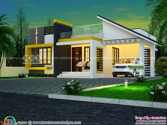 One floor contemporary style 3 BHK home plan