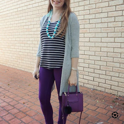 awayfromblue instagram | striped tank, grey cardi and purple jeans: Spring SAHM mothers group style