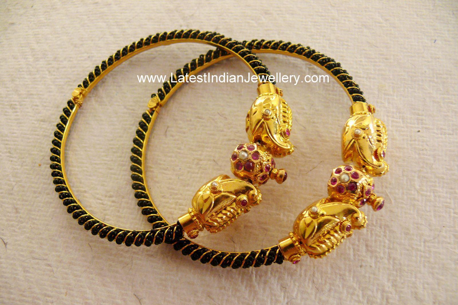 Cute Antique Baby Bangles Murugulu With Black Beads