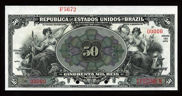 World Paper Money Brazilian currency 50 Mil Reis banknote bill