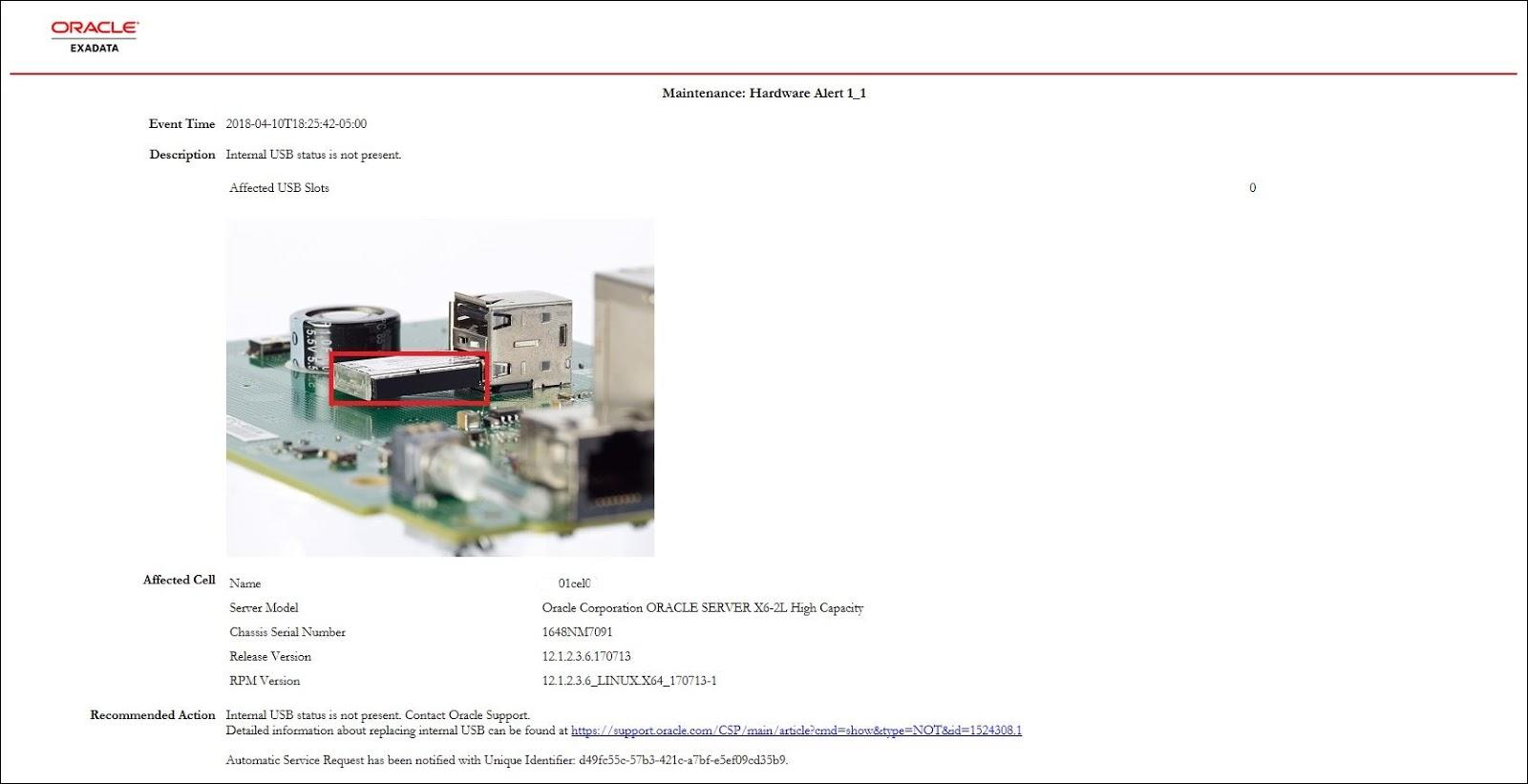 Netsoftmate Technical Blog : Exadata - Replace Failed Internal USB