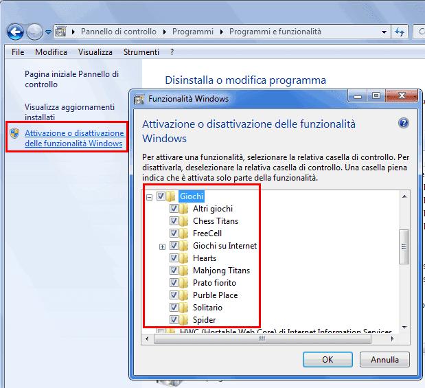 Attivare i giochi di Windows 7