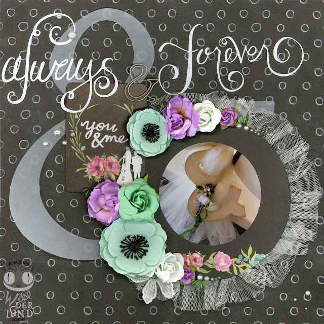 Always & Forever by Alice Scraps Wonderland | Tulle and chalkboard elements give this layout a vintage feel.  The flowers add bright pops of color.