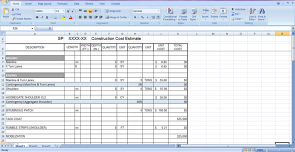 Construction Cost Estimate Template Free Download