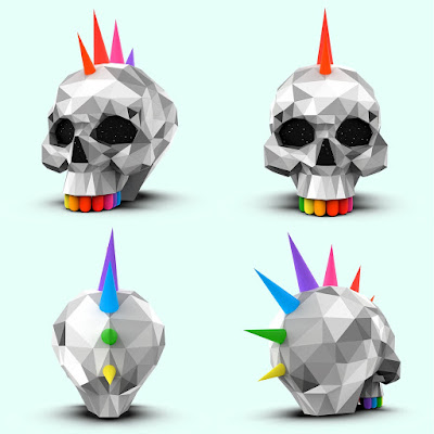 Punk Skull Vinyl Figure by Okuda San Miguel x Superplastic