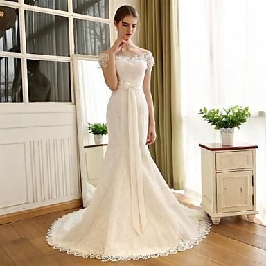 Vestido de Novia Blanco Corte Sirena Hombro Encaje