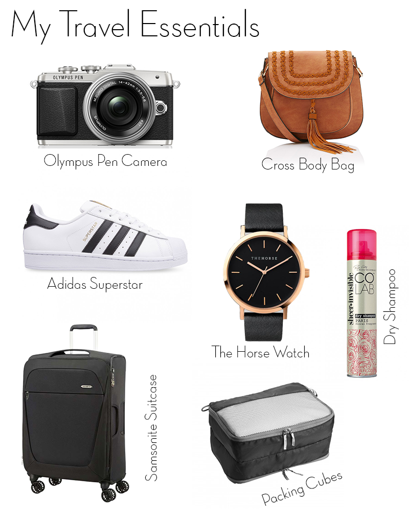 travel essentials, olympus pen e-pl7, adidas superstar, the horse watch, samsonite b-lite suitcase, kathmandu packing cubes