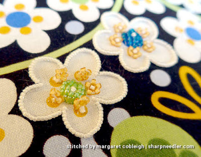 Bead embroidered flower detail. (Wild Child Japanese Bead Embroidery by Mary Alice Sinton)