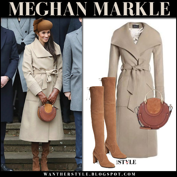 Meghan Markle in beige wool coat sentaler with round brown bag chloe pixie and brown suede boots royal family christmas service church december 25 2017