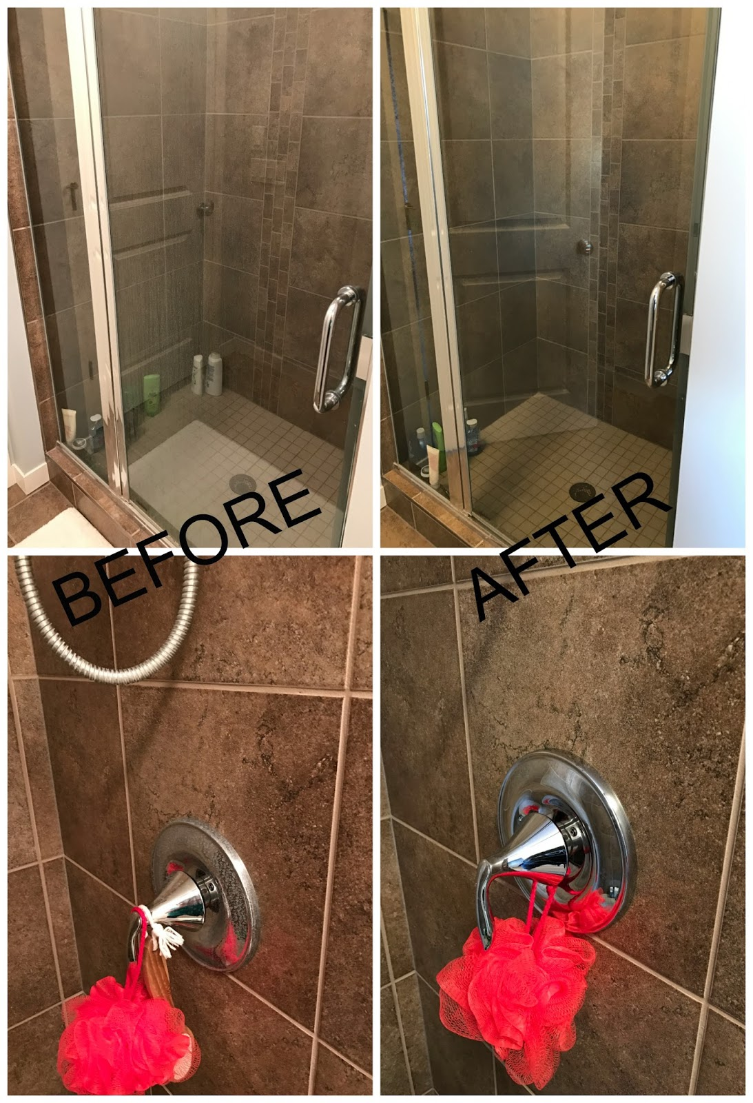 before & after photos of glass shower door