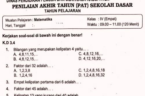 Soal sd bank kelas pdf 4