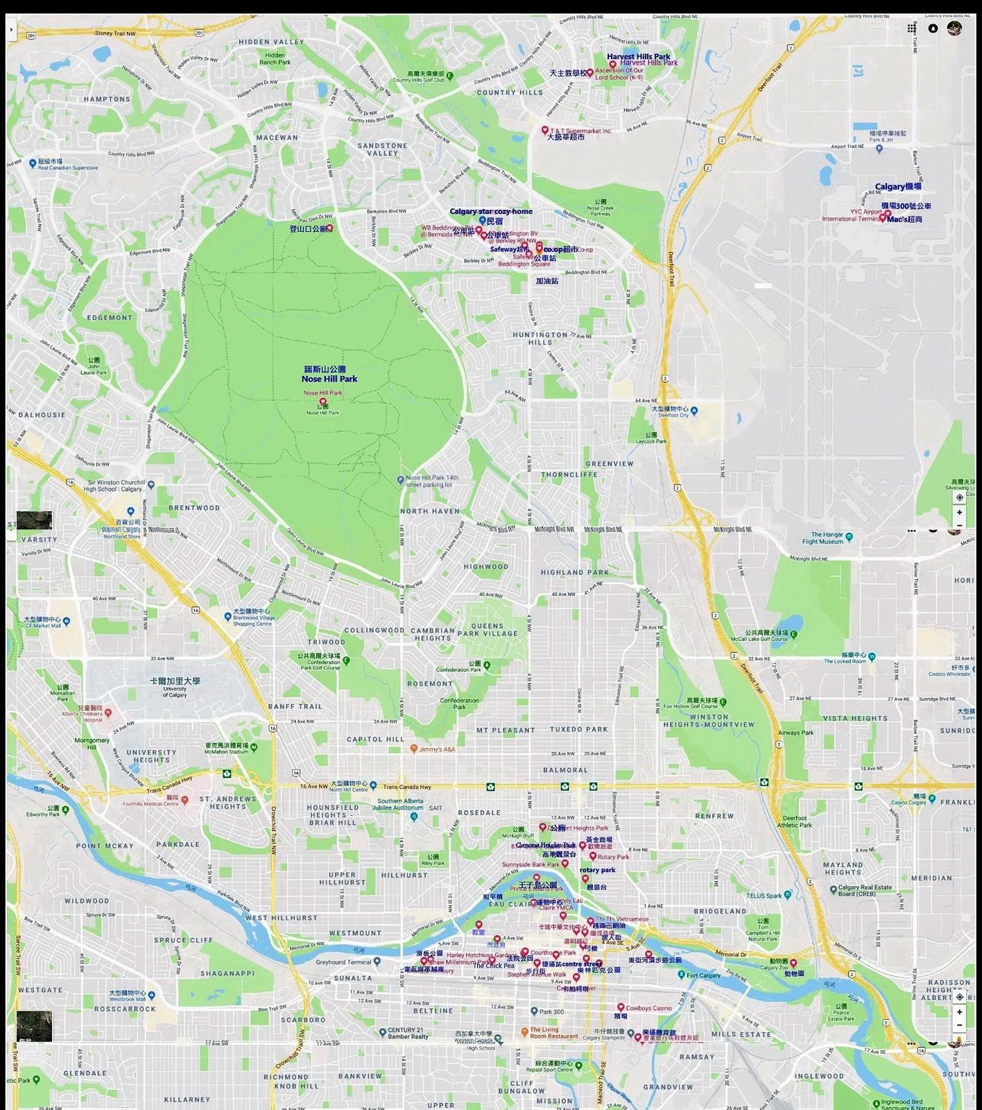 卡加利自由行景點路線圖 (點圖按右鍵開啟連結可放大)