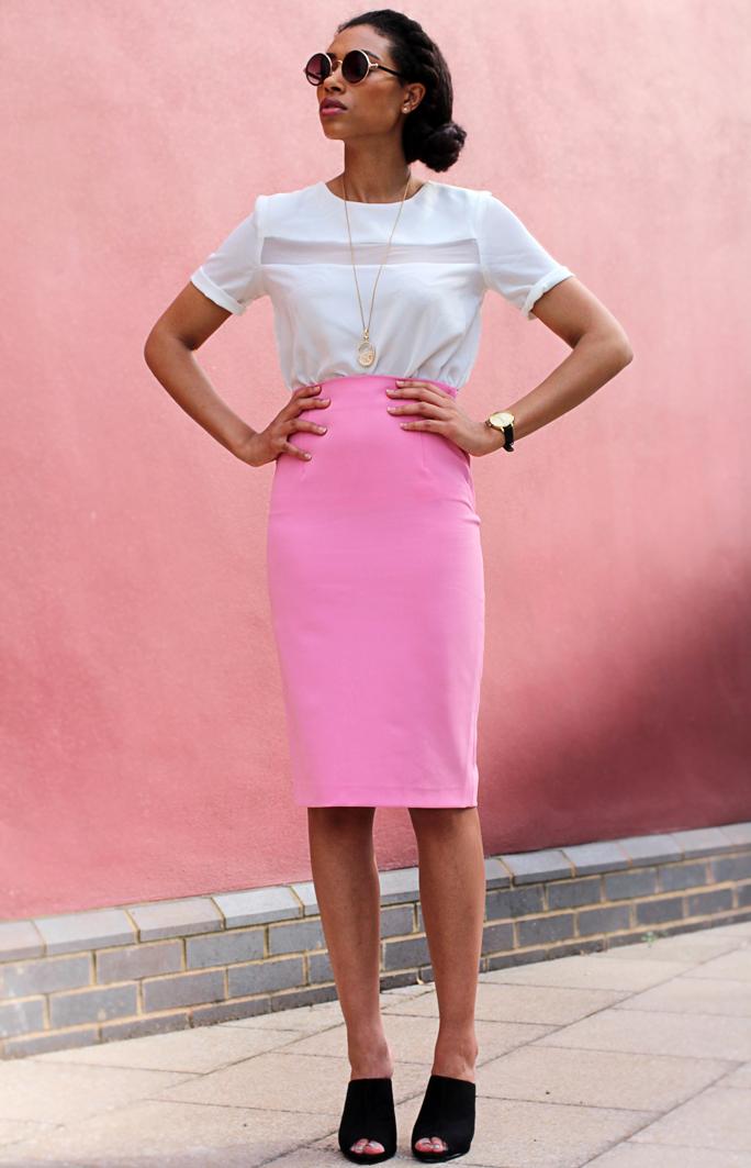 fresh lengths what i wore pink zara skirt