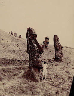 Man Near Moai (Lava Stone Effigy Figures) at Base of Outer Slope of Volcano 1890, NAA 04960500