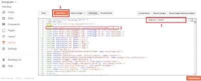 Contoh gambar ilustrasi kode script edit HTML blog