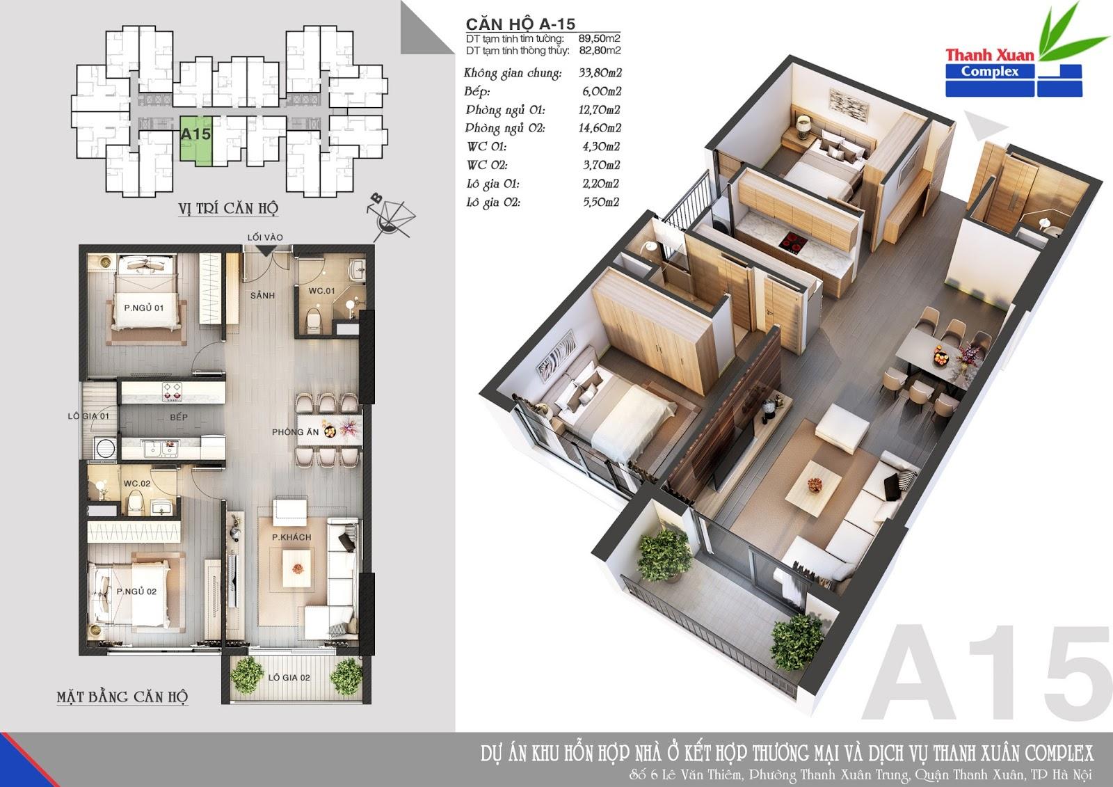Mặt bằng căn hộ chung cư Thanh xuân Complex 3