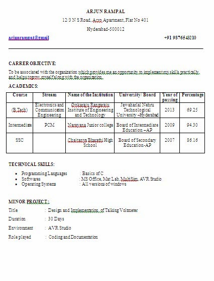sample resume for btech cse freshers best resumes curiculum