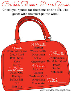 Looking for a fun bridal shower game? Get this Bridal Shower Purse Game free printable at www.abrideonabudget.com.