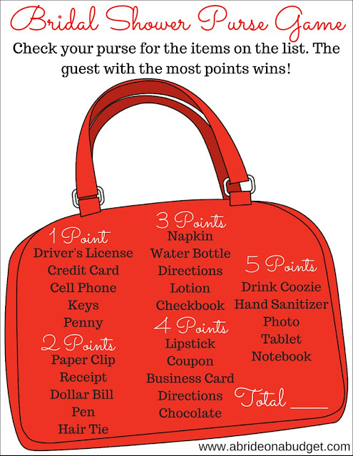 Planning a bridal shower? You NEED to print this FREE bridal shower purse game from www.abrideonabudget.com.