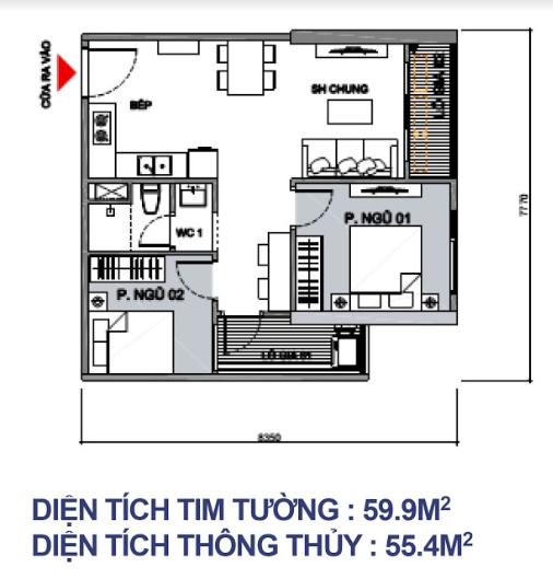 Căn 2 PN + 1WC - 42m2