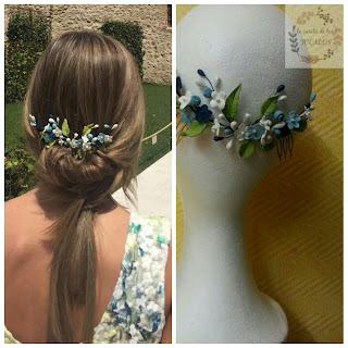 tiara de porcelana para invitada en blanco, verde y azul