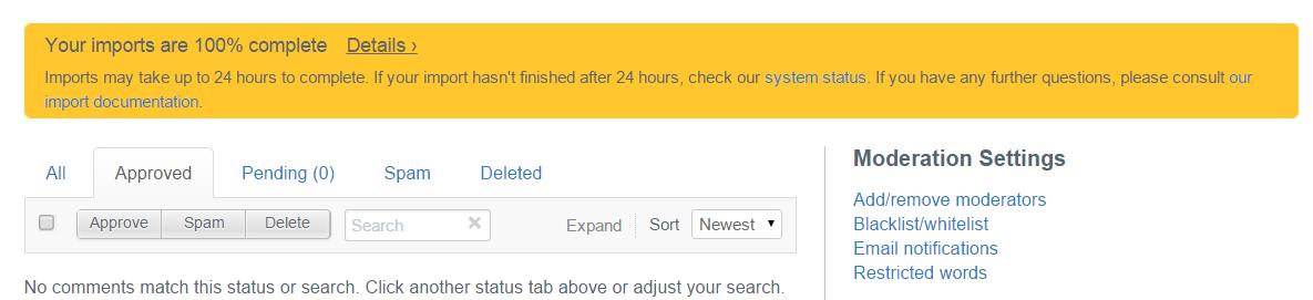 disqus import xml upload file error