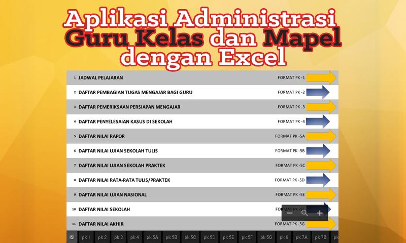 Aplikasi Administrasi Guru Kelas dan Mapel dengan Excel