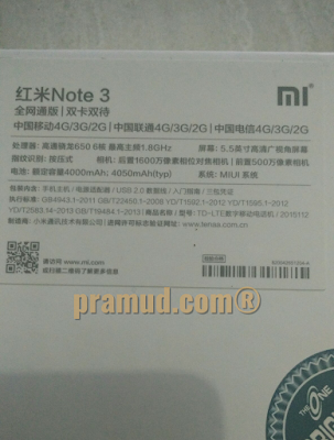 tulisan spesifikasi box redmi note 3 pro indonesia
