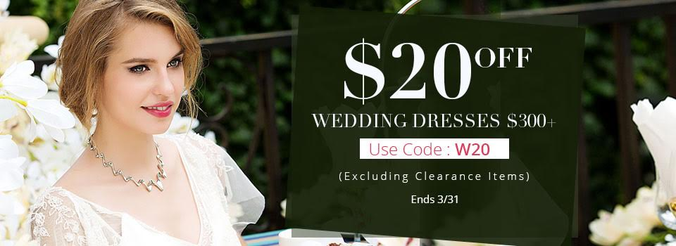 A discount code from Cocomeldoy on wedding dresses above $300