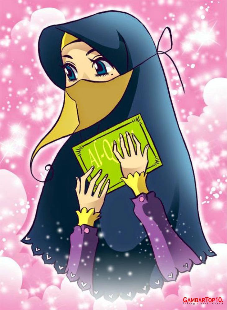 Islamic Girl Cartoon Wallpaper 10 Gambar Kartun Muslimah Gambar Top 10