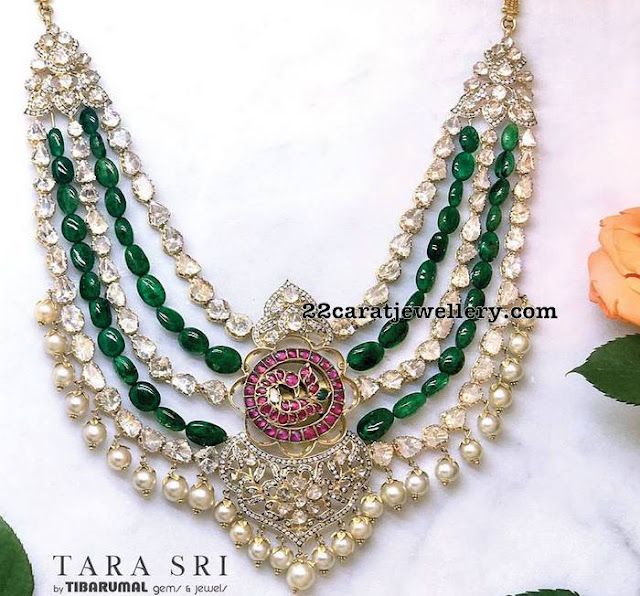 Uncut Diamond Emerald Beads Set by Tibarumal
