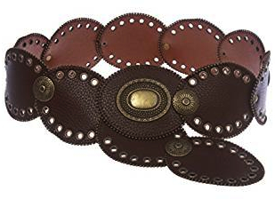"Steampunk accessories for women. 3 1/4"" Wide Boho Oval Disk Brown Leather Belt"