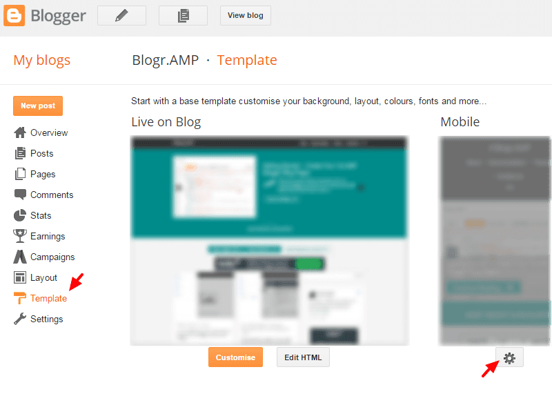 AMP HTML Blogger Template Disable Mobile Template Howto