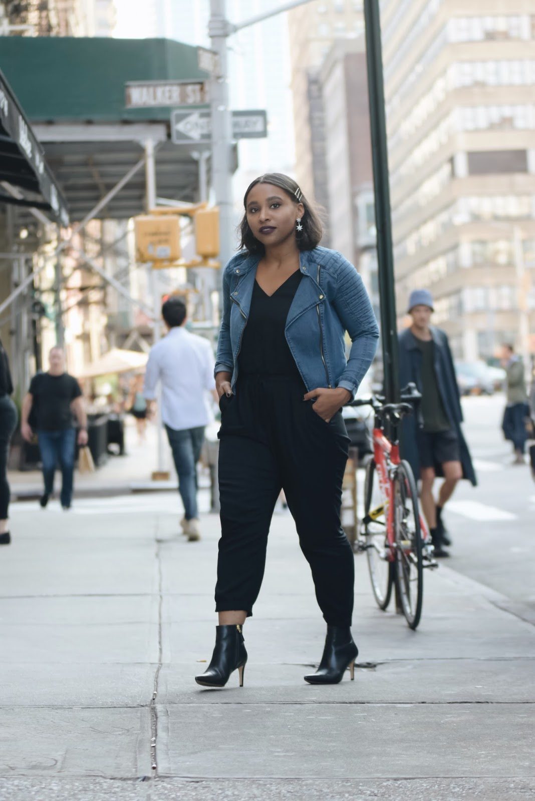 Fall outfit ideas, vampy fall looks, denim jacket, black jumpsuit, darkside