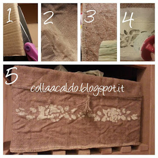 Cesto fai da te juta country shabby chic tutorial colla a caldo