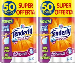 Logo Tenderly Triple Soft: 100 rotoli a soli euro 19,90 sconto 64%! Ma solo per poco.
