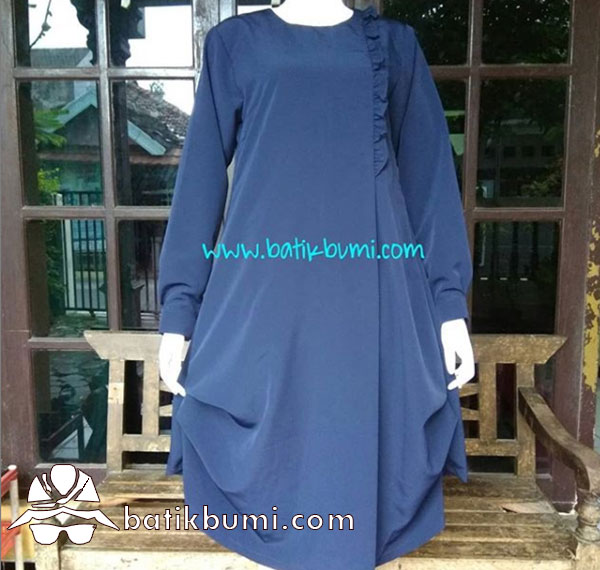 Tunik Crepe Model Balon Warna Biru