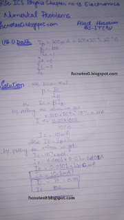 F.Sc ICS Notes: Physics XII: Chapter 18 Electronics Numerical Problems by Asad Hussain