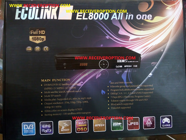 ECOLINK EL8000 ALL IN ONE HD RECEIVER BISS KEY OPTION