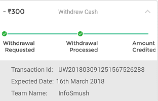 dream11 payment proof