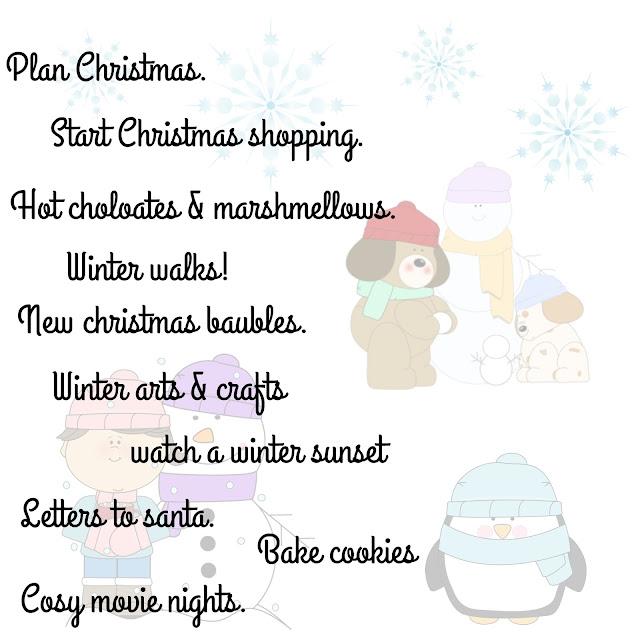 Winter bucket list and goals for november mumx3x blog